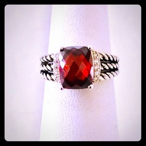 David Yurman Petite Wheaton Sz 6 Red Garnet Ring